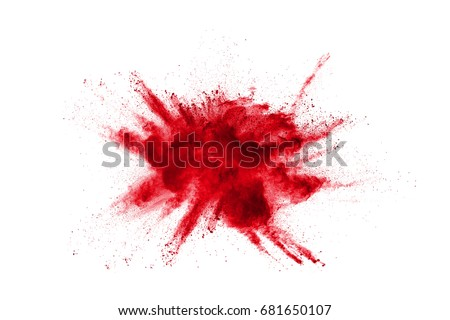 Abstract design of red powder cloud against white background #681650107