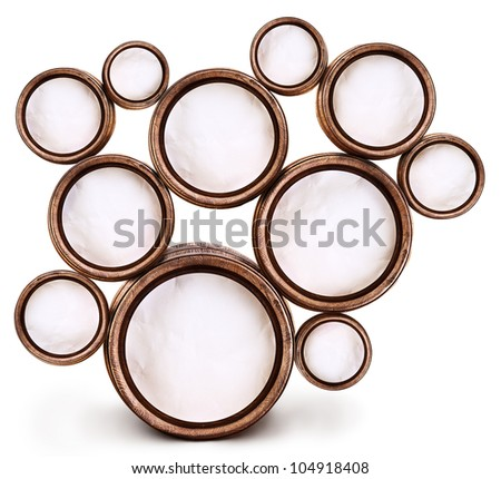 Abstract design of round shapes in the form of beer barrels on a white background. Inside the barrels textured watercolor paper. File contains the path to cut.