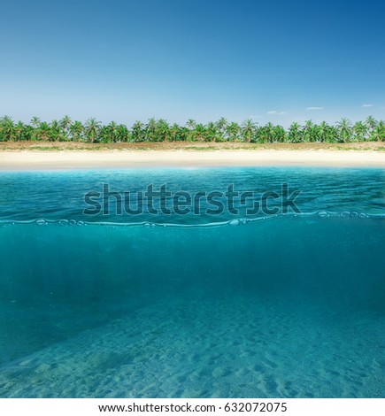 Abstract design of tropical sea water split line with underwater and sky #632072075