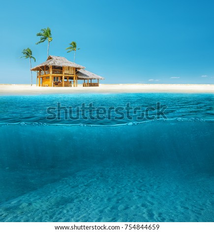 Abstract design of tropical sea water split line with underwater and sky #754844659