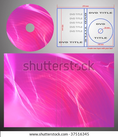 Abstract design template for dvd label and box-cover. Based on rendering of 3d fractal graphics. For using create new layer with your text.