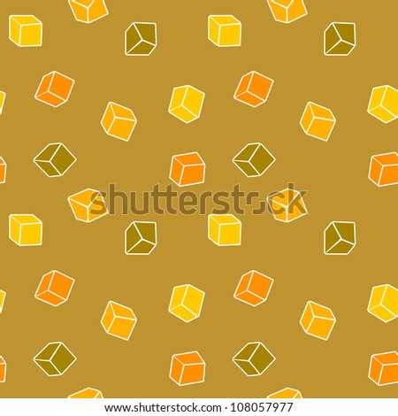 Abstract design yellow background - simple cubes