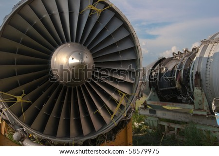 Abstract detail of an airplane engine in junkyard