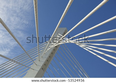 Abstract detail of Millennium bridge, Modern arhitectural construction on river Moraca, Podgorica, Capital city of Montenegro #53524936