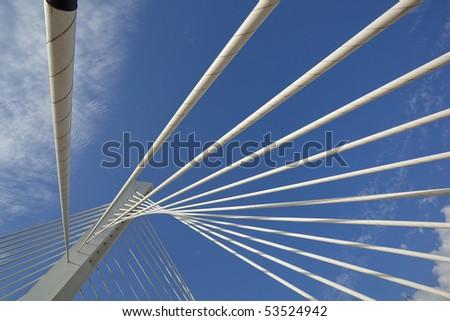Abstract detail of Millennium bridge, Modern arhitectural construction on river Moraca, Podgorica, Capital city of Montenegro #53524942