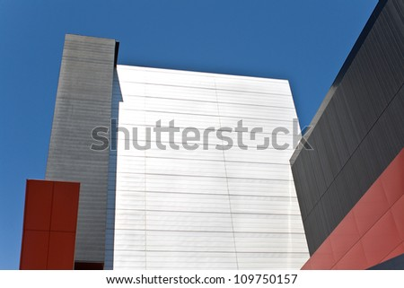 Abstract detail of modern building over blue sky as background