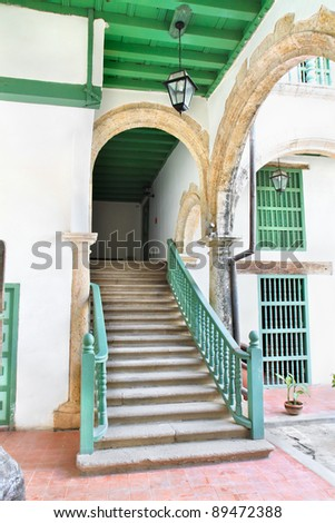 Abstract detail of rustic stairs in Old havana building interior, Cuba