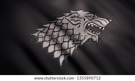 Abstract developing fabric of flag. Animation. Image of gray wolf with open mouth in rage against developing black flag. Emblem of house Stark. Concept of series Game of Thrones Stock photo ©