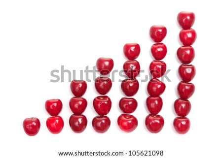 abstract diagram shaped from red fresh cherries on white background