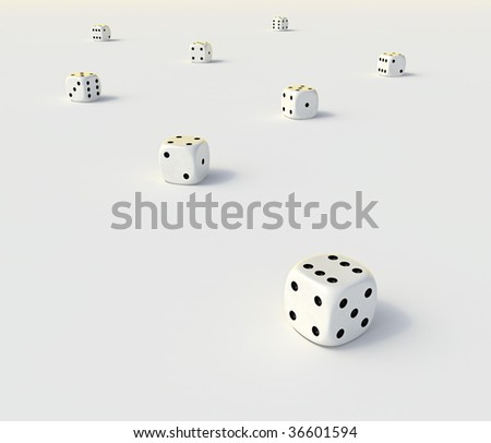 Abstract dice on a flat white surface