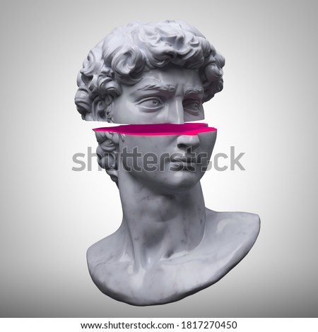 Abstract digital art illustration from 3D rendering of Michelangelo's David head bust sliced in two with pink slice isolated on white background.