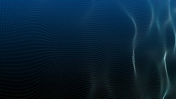 Abstract digital background. Futuristic wave of dots and weave lines. Digital technology. 3d rendering.