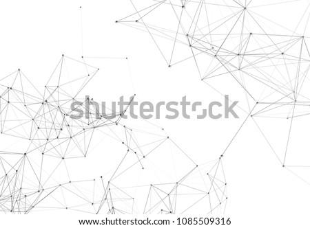 Abstract digital background with polygonal plexus shape, cockpit view. Digital  scientific cybernetic technology concept. 3D illustration Сток-фото ©