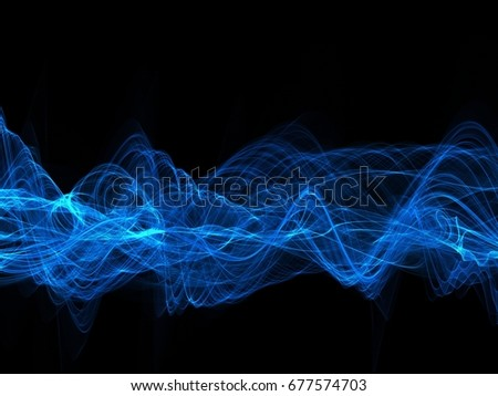 Abstract digital blue sound wave on black background  #677574703