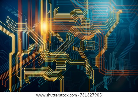 Abstract digital circuit background. Technology and computer hardware concept. 3D Rendering