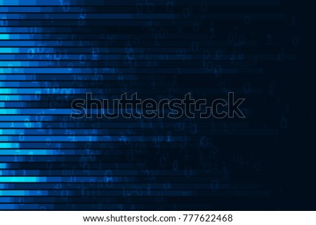 Abstract digital code visualization. Big data code representation. Stream of encoded data.