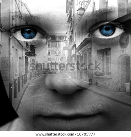 Abstract digital collage with female face and part of street