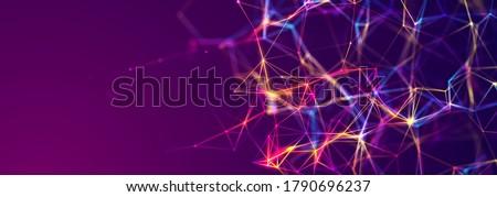 Abstract digital communication points. Technological background. Network connection structure. Color plexus effect. 3D