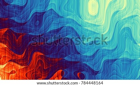 Abstract digital fractal pattern. Horizontal orientation. Psychedelic wavy texture.