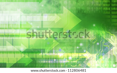 Abstract digital green background with arrows