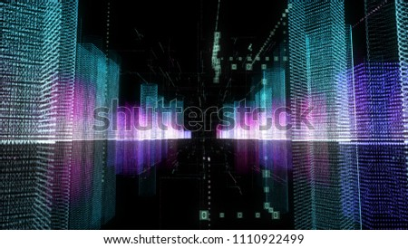 Stock Photo Abstract digital hologram 3D illustration of city with futuristic matrix. Digital buildings with a binary code particles network. Technology, connection and network concept. HUD background in 4K