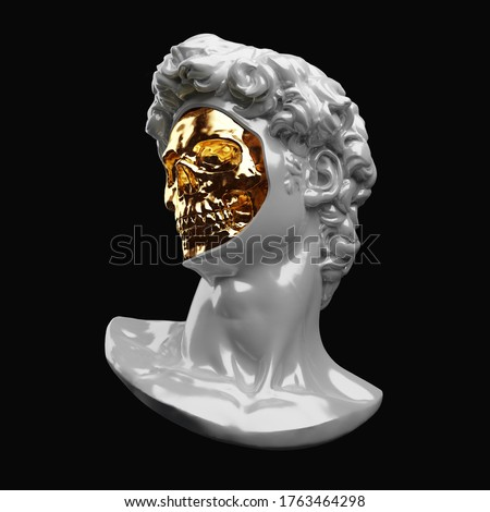 Abstract digital illustration from 3D rendering of a classical porcelain head bust of Michelangelo's David with face off showing a shiny golden skull inside.