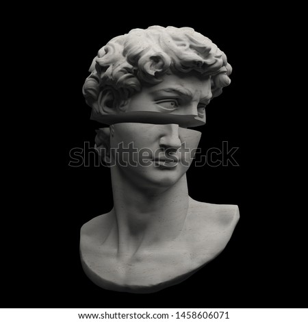 Abstract digital illustration from 3D rendering of Michelangelo's David bust sliced in two.