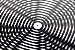Abstract digital image distortion symbol, moire, distorted image concept, metaphor. Black and white stripes mixing, optical illusions, distorted vision. Modern monochrome pop art geometric design
