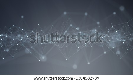 Abstract digital network connection grey background 3D rendering