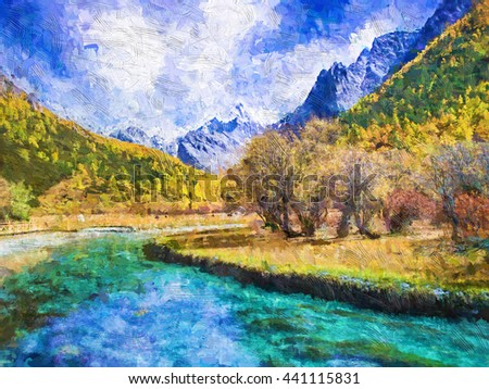Abstract digital oil painting on canvas,The water in the canal green in front of a landscape field with mountains in the background in China. #441115831