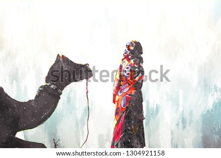 Abstract digital painting of camels in desert, camel fair in India illustration