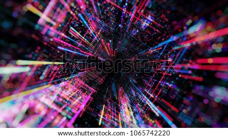 Abstract digital virtual city. Scanning city for hackers attack concept. Software developer, programming, binary computer code with technology and connection concept. 3D render 商業照片 ©