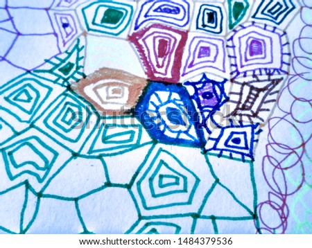 Abstract Dirty Painting. Blue Funky Ornate Sketch. Watercolor Illustration. Hand Drawn Splash. Doodle Childish Drawing. Funky Ornate Sketch. Scrawl Pen Image.