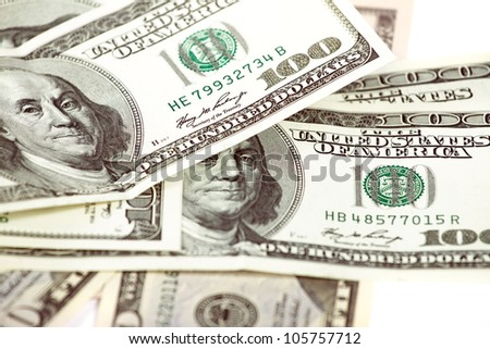 Abstract dollars concept against white, background with one hundred dollars