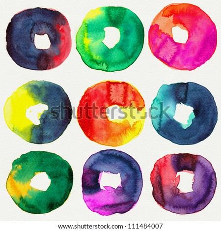 Abstract donut watercolors : illustration collection for graphic.