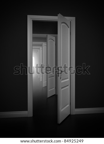 abstract doors - solution, solving problem 3d concept - stock photo