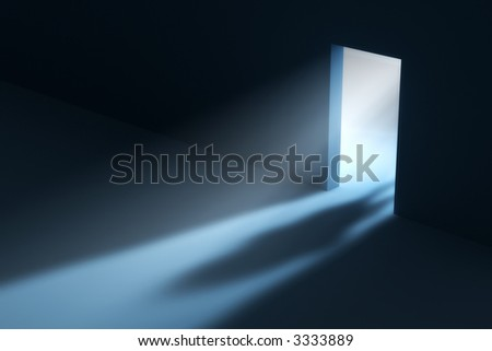 Abstract doorway with visible light beam and people shadow. This is a 3D rendered picture.
