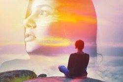 Abstract double multiply exposure girl head portrait outdoors on nature Beautiful woman sits back in a pose of a lotus practice air yoga meditation, amazing top view lake sunset. Free soul zen concept
