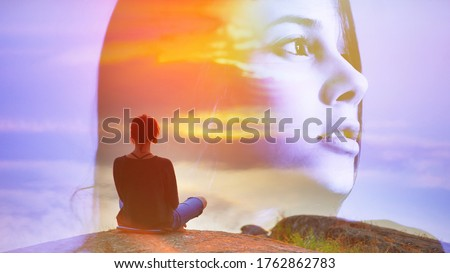 Abstract double multiply exposure girl head portrait outdoors on nature Beautiful woman sits back in a pose of a lotus practice air yoga meditation, amazing top view lake sunset. Free soul zen concept Stock foto ©
