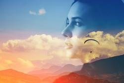 Abstract double multiply exposure head portrait of a hipster woman head face silhouette portrait outdoors on nature Parachute skydive psychology mindset power of mind, intuition mental therapy concept