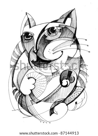 Abstract drawing black ink with unusual structure - Cat