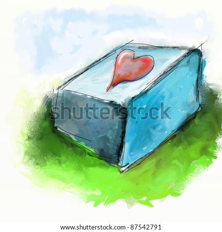 abstract drawing of red heart on a stone brick on the green lawn
