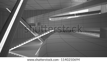 Abstract drawing white interior multilevel public space with window. 3D illustration and rendering. #1140250694