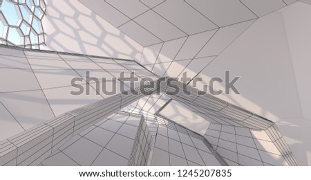 Abstract drawing white interior multilevel public space with window. 3D illustration and rendering. #1245207835