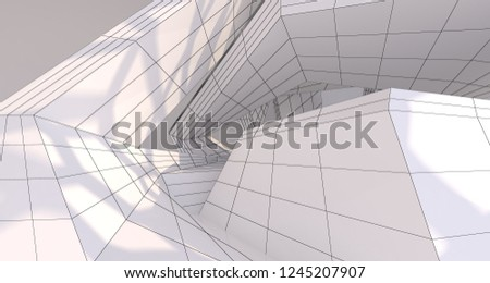Abstract drawing white interior multilevel public space with window. 3D illustration and rendering. #1245207907