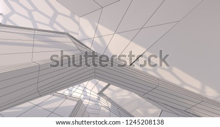 Abstract drawing white interior multilevel public space with window. 3D illustration and rendering. #1245208138