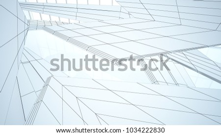 Abstract drawing white parametric interior  with window. Polygon colored drawing. 3D illustration and rendering. #1034222830