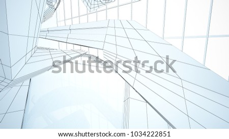 Abstract drawing white parametric interior  with window. Polygon colored drawing. 3D illustration and rendering. #1034222851