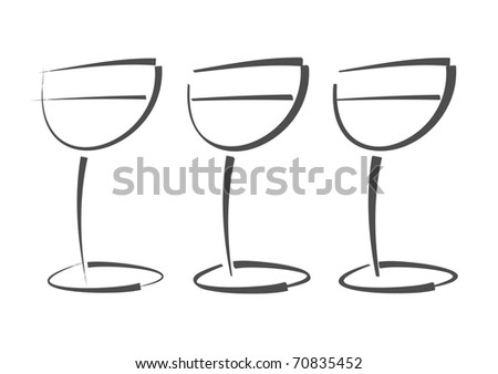 Abstract drawings of wine/champagne glasses