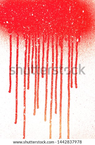 Abstract dripping paint aerosol art with snow effect copy space place. Blood flows. Abstract blob. Snow paint rain. Copy space, copy paste dripping grunge paint background. Winter snowflakes fall.